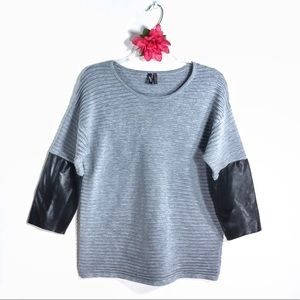 Ravel gray textured faux leather 3/4 sleeved top